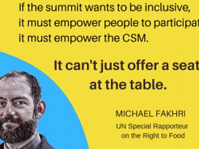Declaraciones del relator del derecho a la alimentación sobre la cumbre