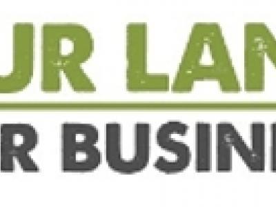 logo de la campaña our land our business